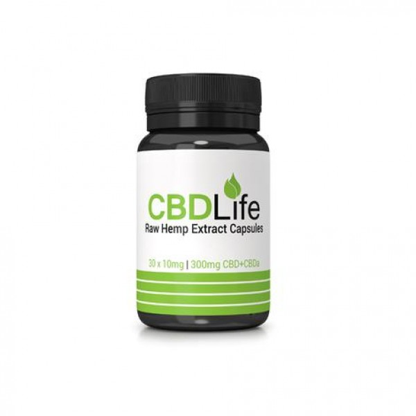 CBDLife 300mg CBD + CBDa Raw Hemp Extract Capsules 30 Caps